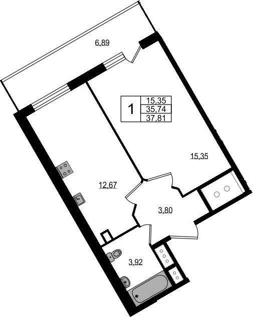 1-комнатная, 37.81 м²– 2