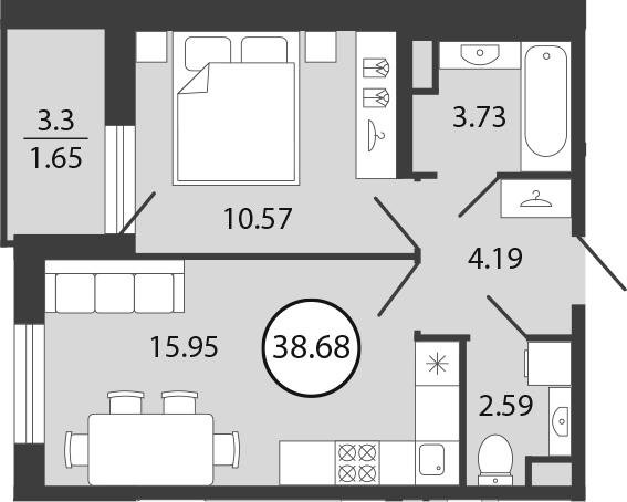 2Е-к.кв, 38.68 м², 1 этаж