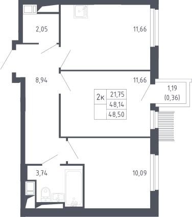 2-комнатная, 48.5 м²– 2