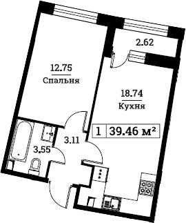 2Е-к.кв, 39.46 м², 1 этаж