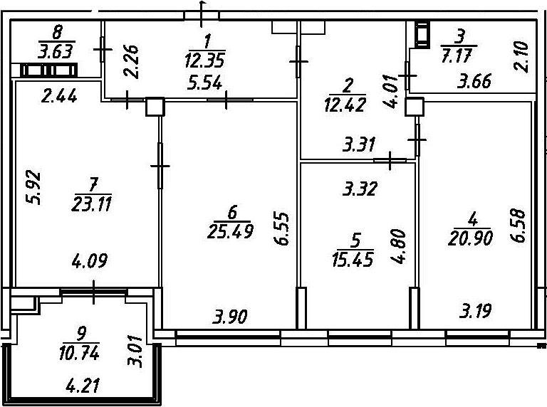 4Е-комнатная, 125.89 м²– 2