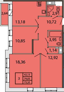 3-к.кв, 77.62 м²