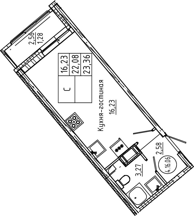 Студия, 23.36 м²