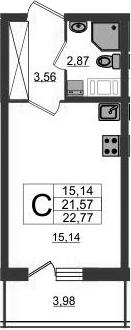Студия, 21.57 м²– 2