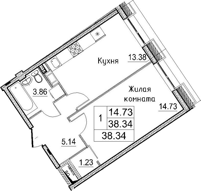 1-к.кв, 38.34 м²