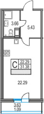 Студия, 31.38 м²– 2