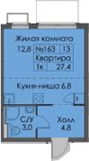 Студия, 27.4 м², 13 этаж – Планировка