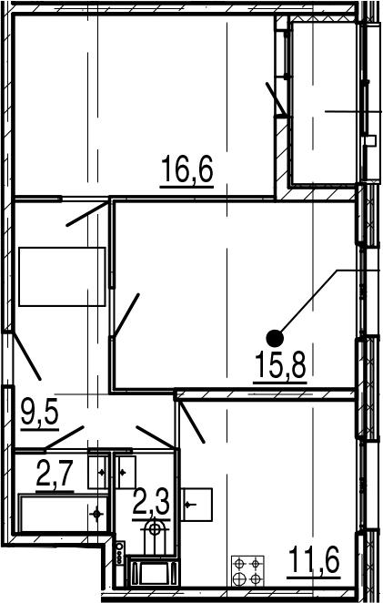 2-к.кв, 60.3 м²