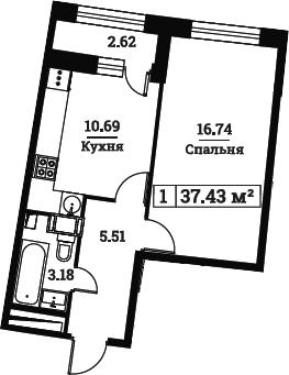 1-комнатная, 37.43 м²– 2