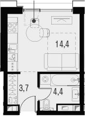 Студия, 22.5 м²