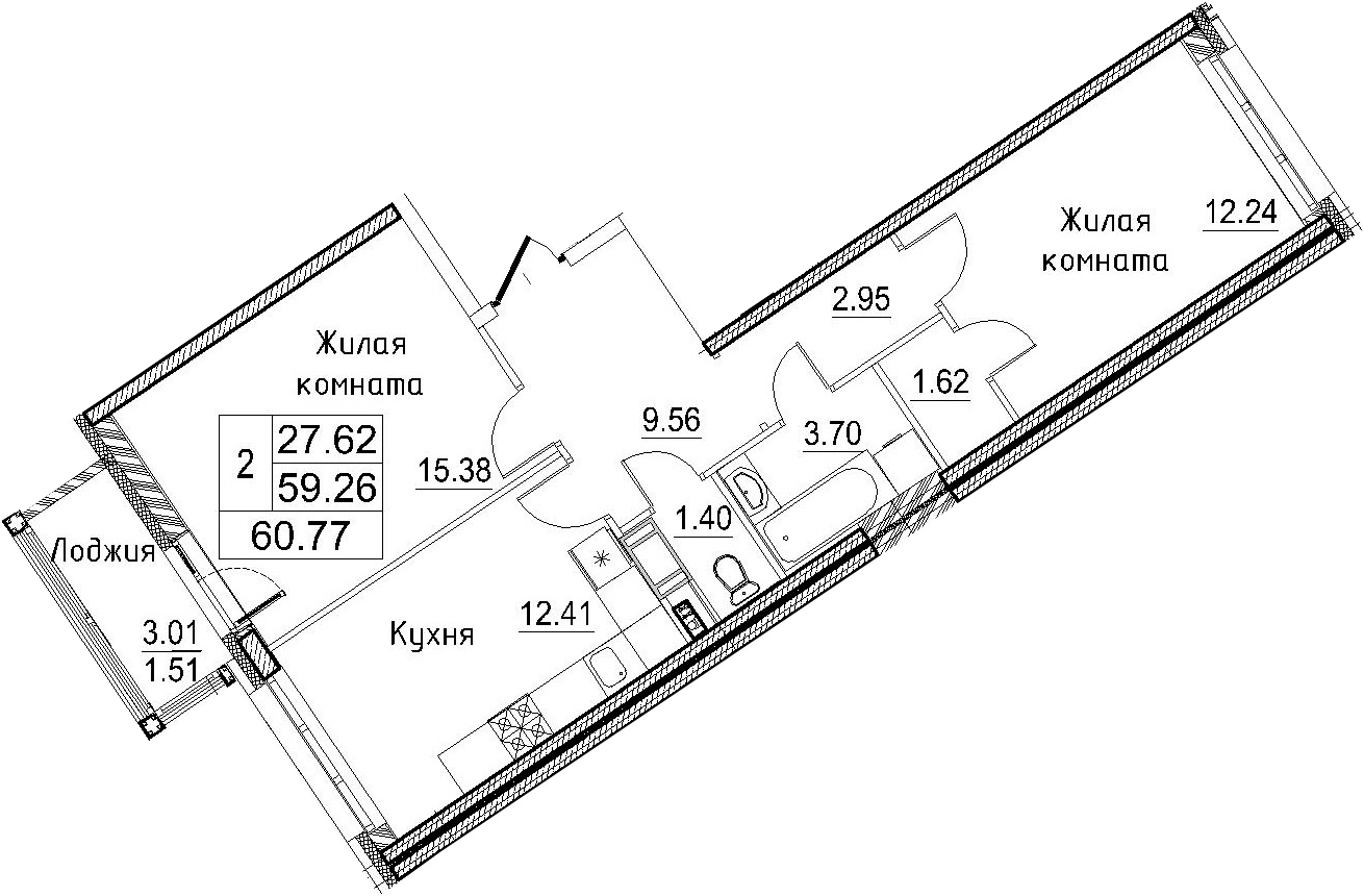 2-к.кв, 57.82 м²