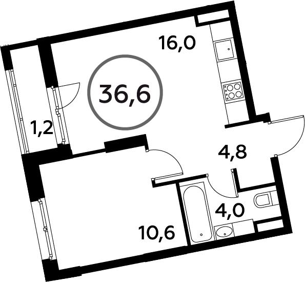 2-к.кв (евро), 37.8 м²