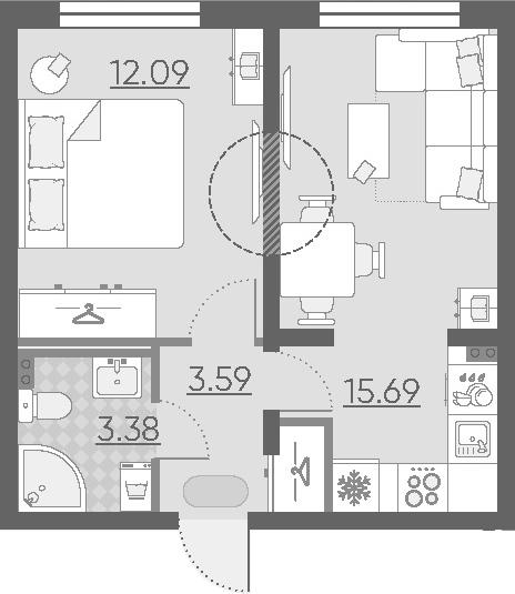 2Е-комнатная, 34.75 м²– 2