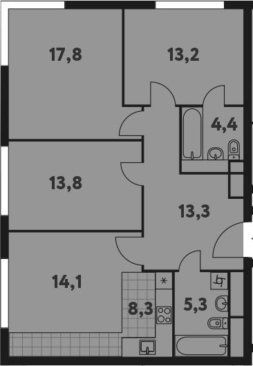 4-к.кв (евро), 90.2 м²