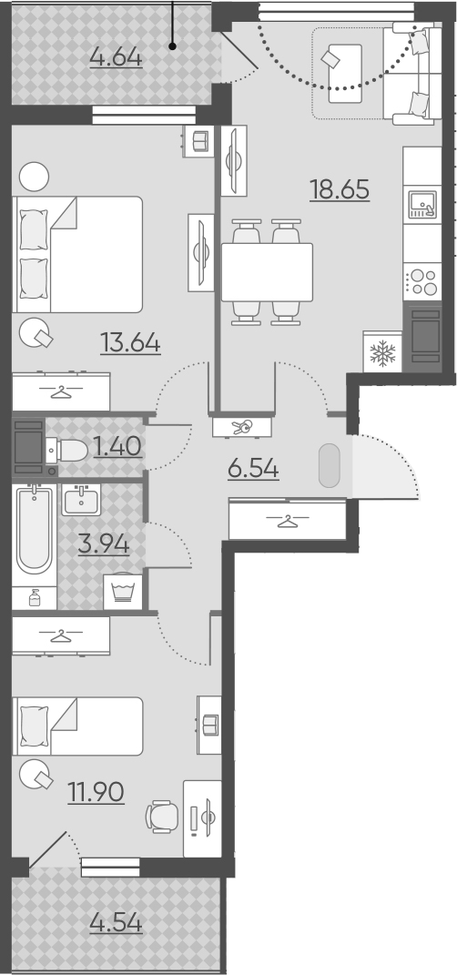 3Е-комнатная, 60.66 м²– 2
