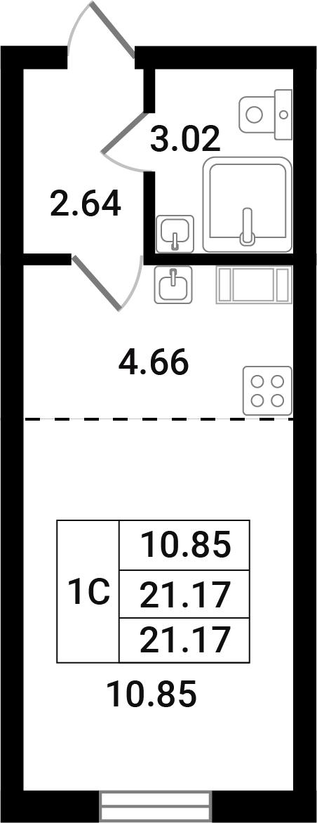 Студия, 21.17 м²