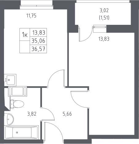 1-комнатная, 36.57 м²– 2