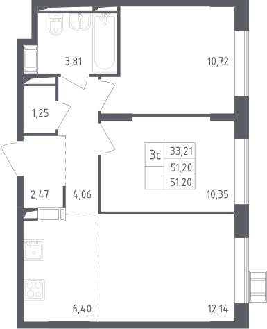 3Е-к.кв, 51.2 м², 11 этаж
