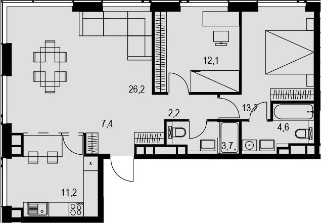 3-комнатная, 80.6 м²– 2