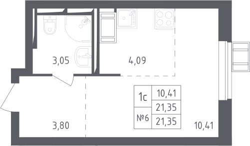 Студия, 21.35 м², 12 этаж