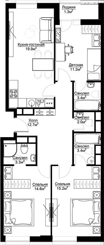 3-к.кв, 92.1 м²