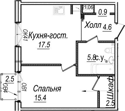 2-к.кв (евро), 49.25 м²