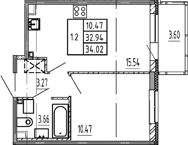 2Е-комнатная, 32.94 м²– 2