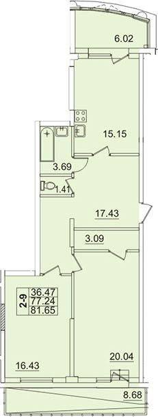 2-к.кв, 81.6 м²