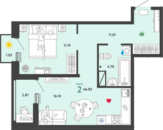 2Е-комнатная, 46.92 м²– 2