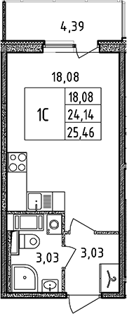 Студия, 24.14 м², 11 этаж