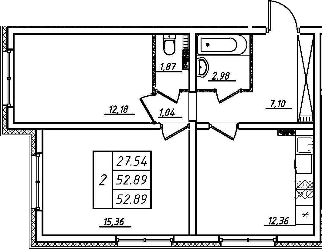 2-комнатная, 52.89 м²– 2