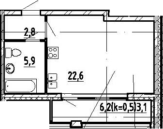 Студия, 34.4 м²
