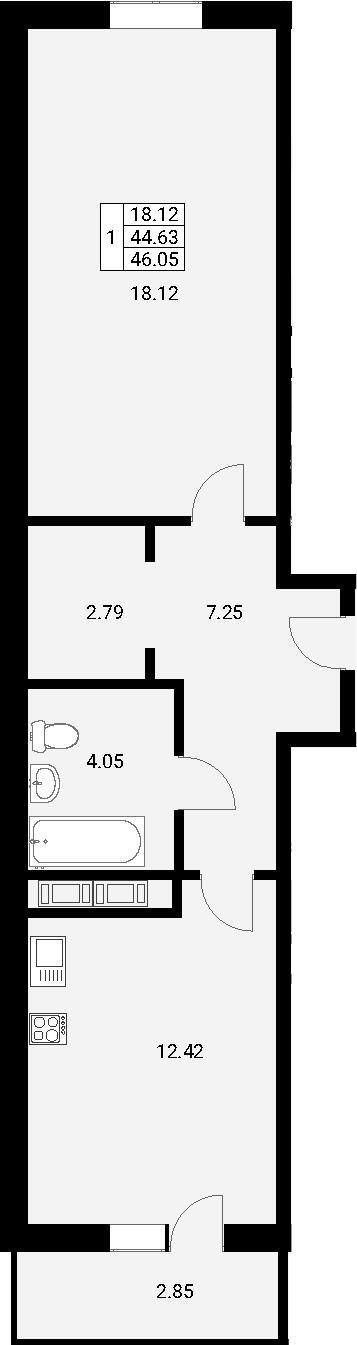 1-к.кв, 46.05 м²