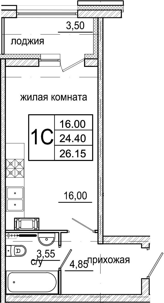 Студия, 26.15 м²– 2