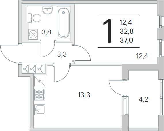 1-комнатная, 32.8 м²– 2