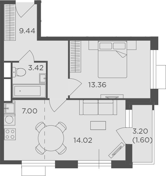 2Е-комнатная квартира, 48.84 м², 10 этаж – Планировка