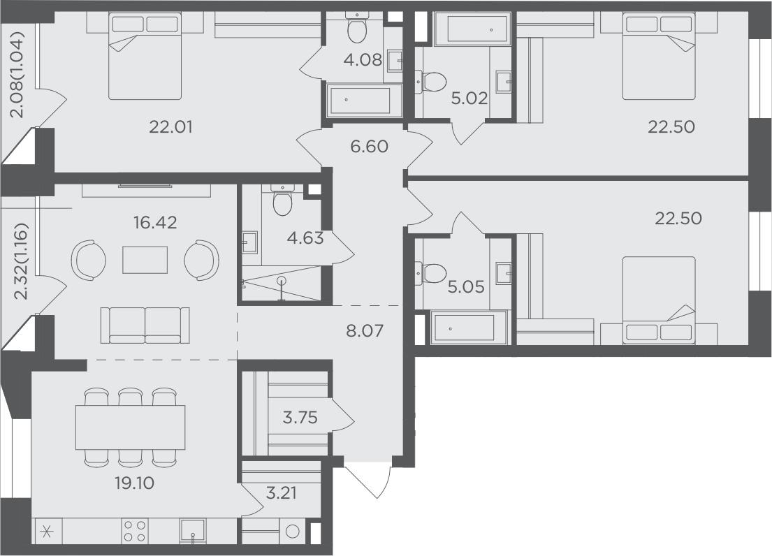 4-к.кв, 145.14 м², 9 этаж