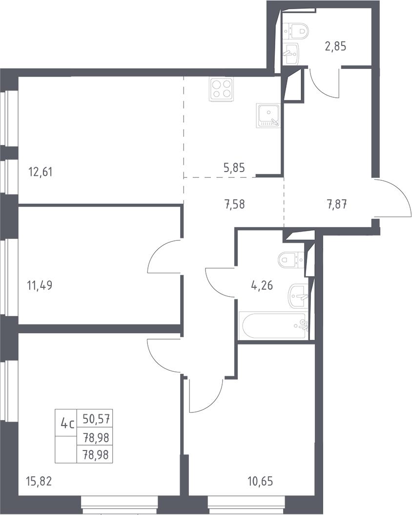 4Е-комнатная, 78.98 м²– 2