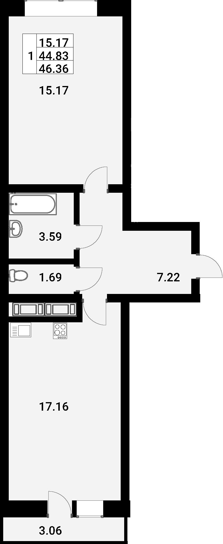 2Е-к.кв, 46.36 м²
