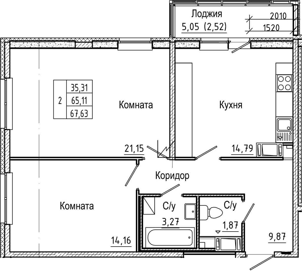 2-комнатная, 67.63 м²– 2
