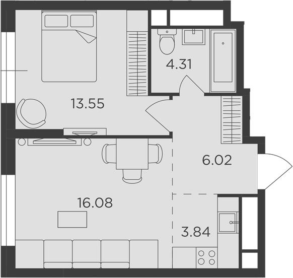 2Е-к.кв, 43.8 м²