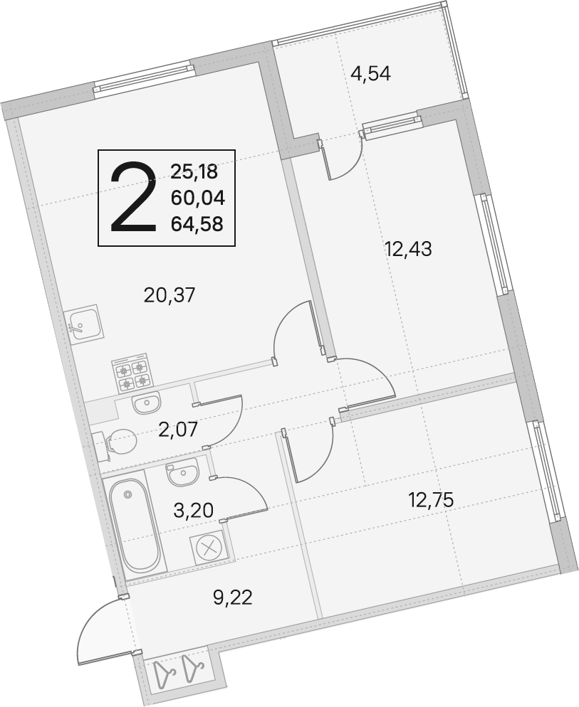 3Е-комнатная, 60.04 м²– 2
