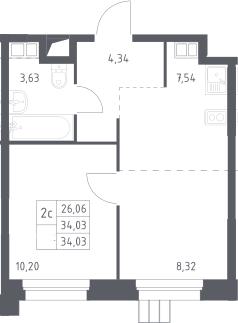 2Е-к.кв, 34 м²