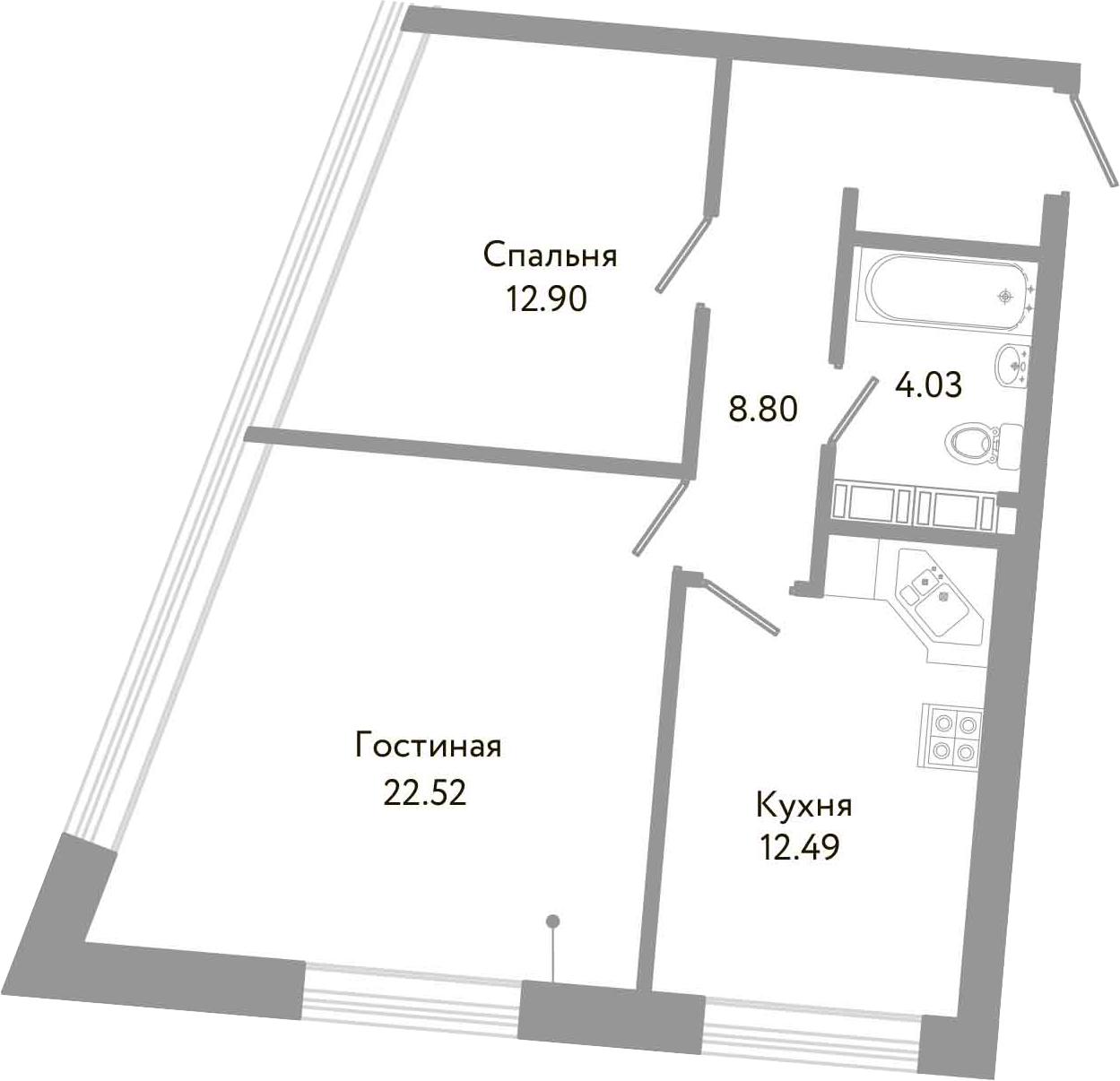 2-к.кв, 60.74 м²