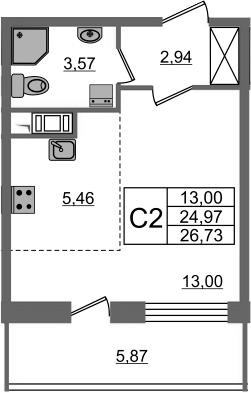 Студия, 24.97 м²– 2