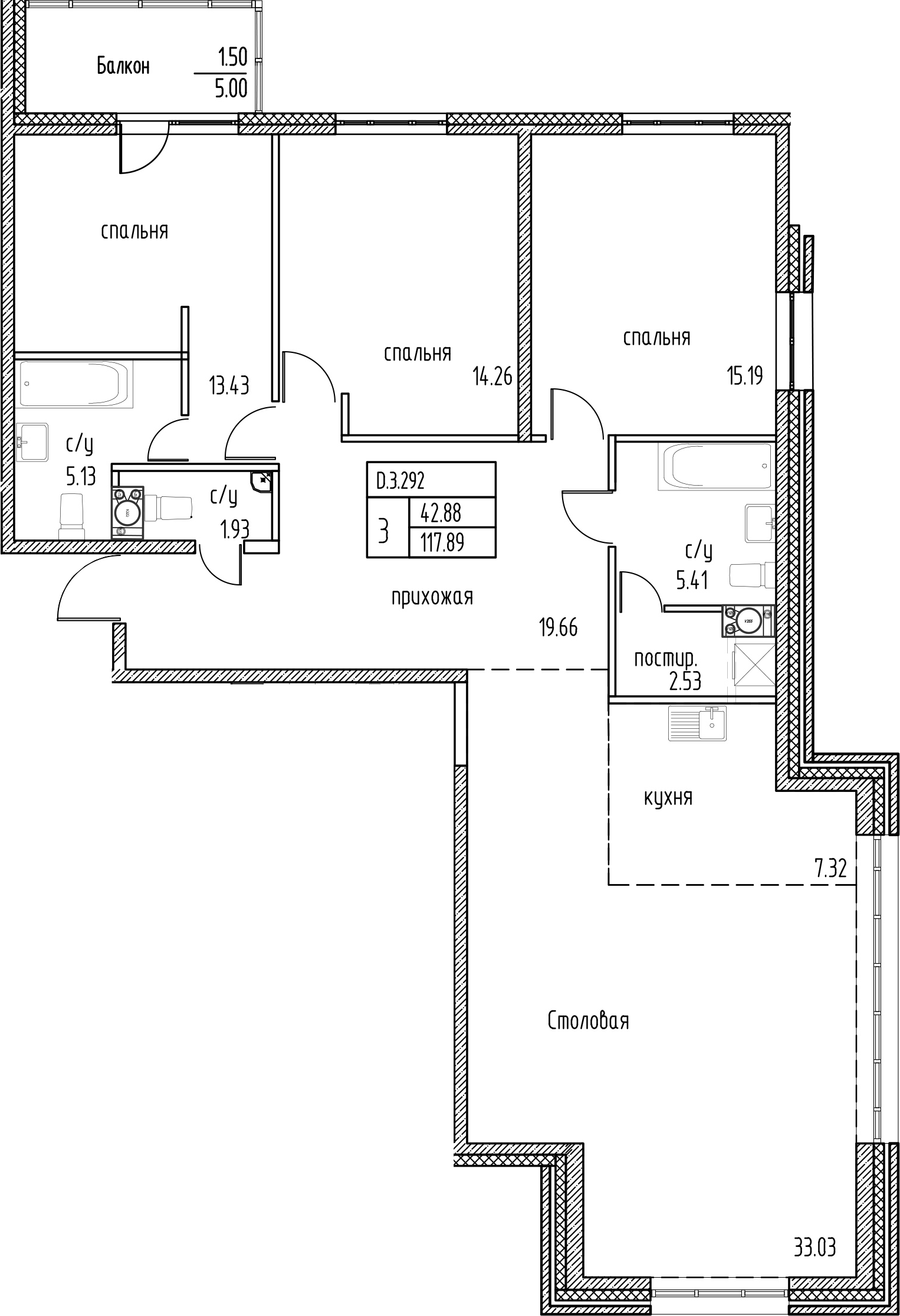 4-к.кв (евро), 122.89 м²