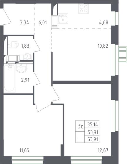 3Е-комнатная, 53.91 м²– 2
