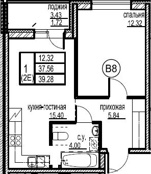 2-к.кв (евро), 41 м²