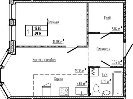 2Е-к.кв, 49.15 м²
