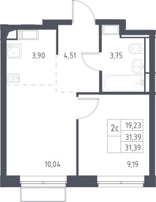 2Е-к.кв, 31.39 м²